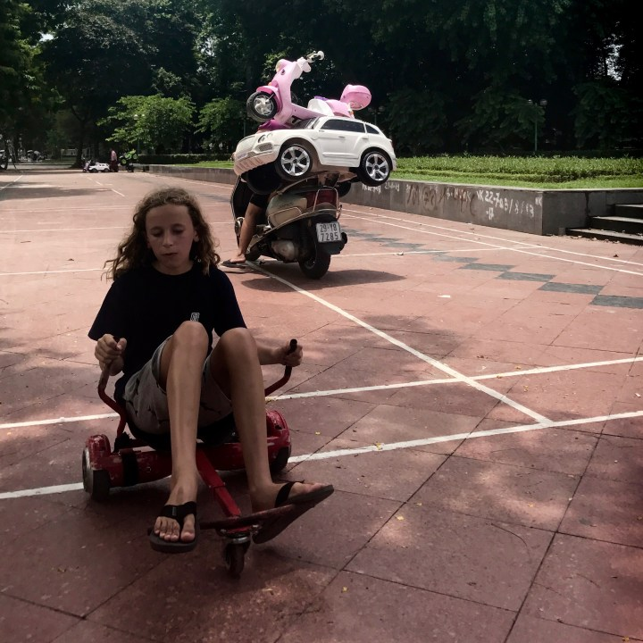 travel with kids vietnam hanoi hover board