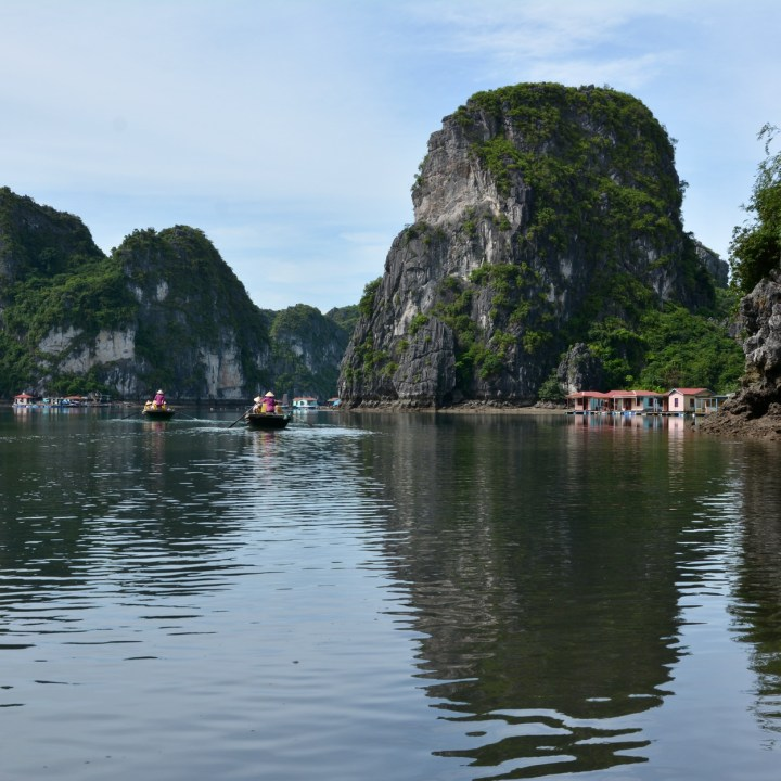 vietnam with kids ha long bay row boat