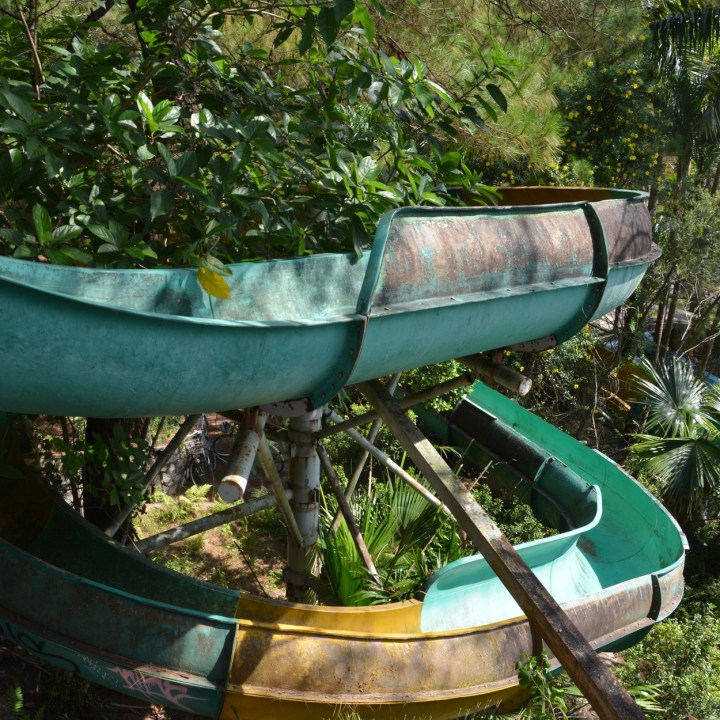 vietnam with kids hue abandoned waterpark slide
