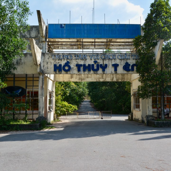 vietnam with kids hue abandoned waterpark entrance gate