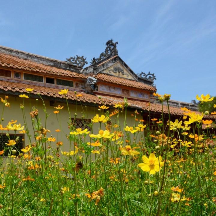 vietnam travel with kids hue citadel flower bed