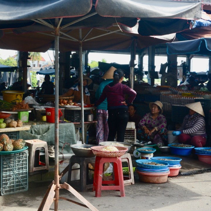 hoi an with kids local market fruit stall