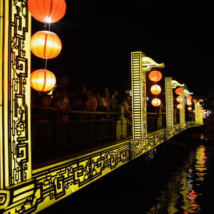 hoi an by night with kids bridge of lights