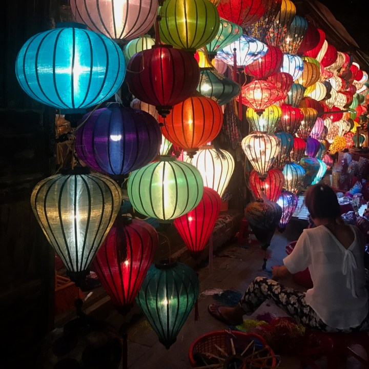 hoi an by night with kids market stall