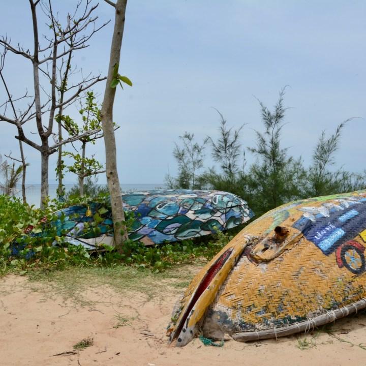 travel with kids vietnam tam than mural art village boats