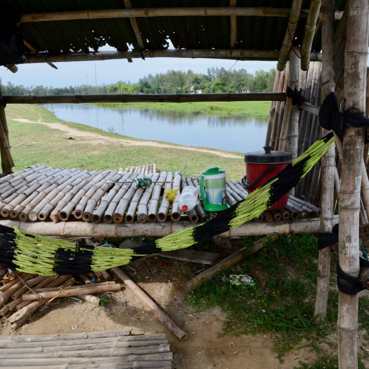 travel with kids vietnam bamboo bridge hammock