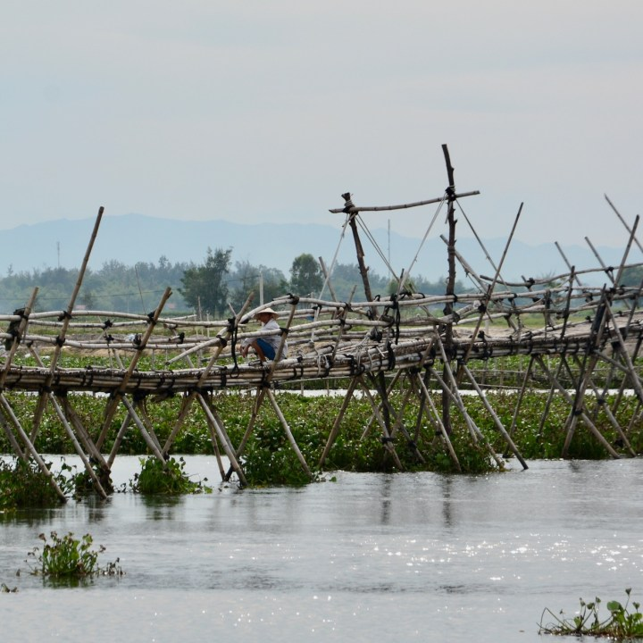 travel with kids vietnam hoi an bamboo bridge man