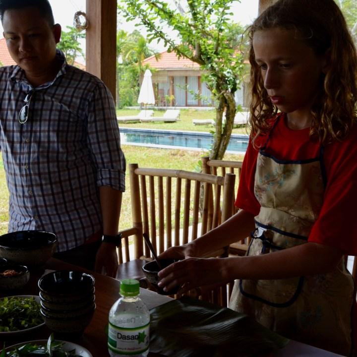 vietnam with kids hoi an cooking class salad sauce