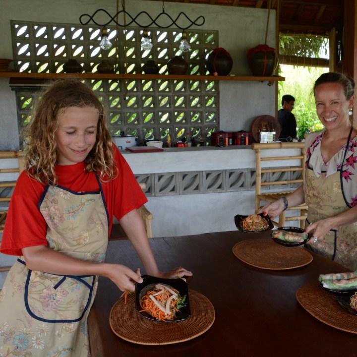 vietnam with kids hoi an cooking class salads