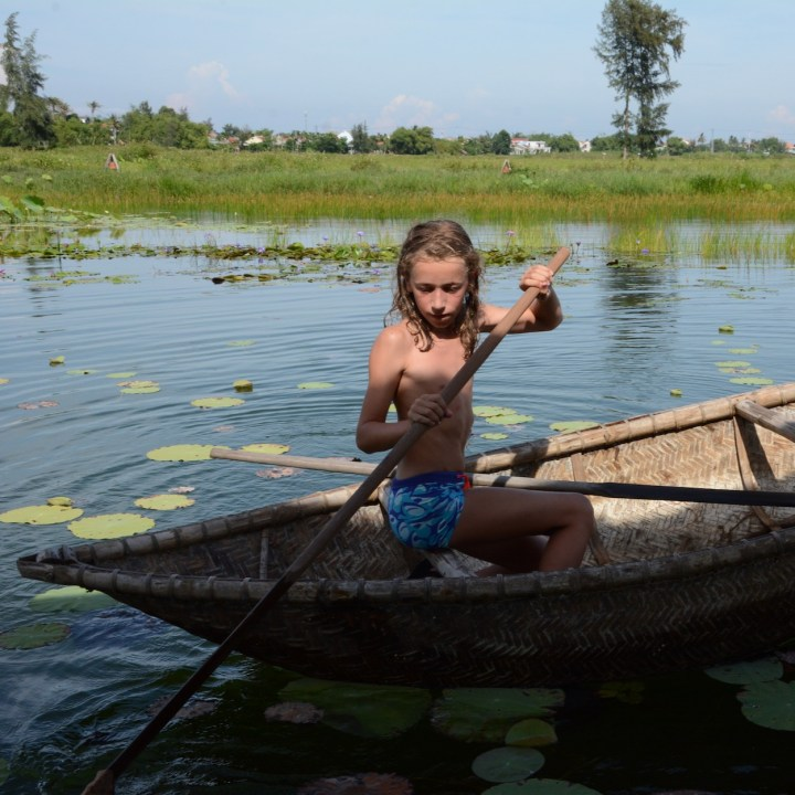 vietnam with kids hoi an allamanda estate boat