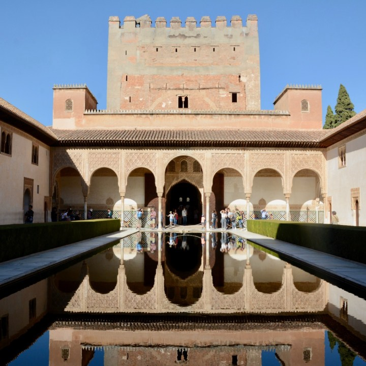 alhambra with kids nasrid palace reflections