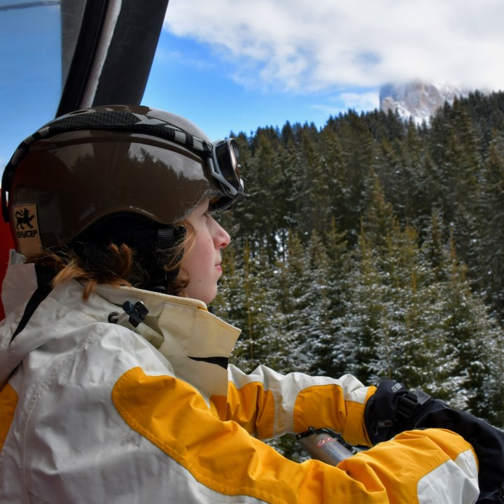 seiser alm skiing with kids chairlift ride