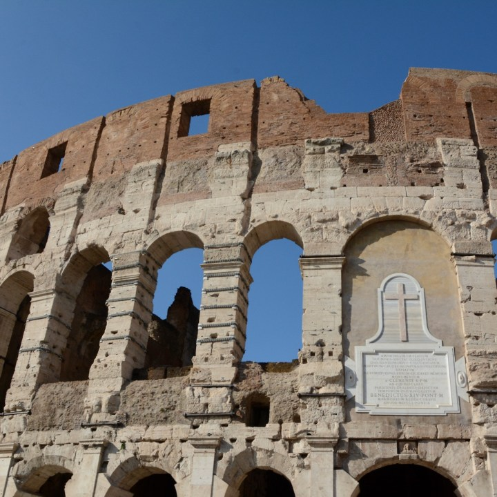 colosseum rome with kids church plaque