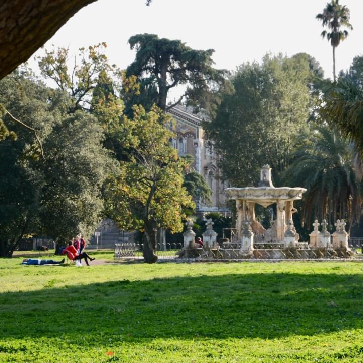 Rome with kids park villa doria pamphilj fountain