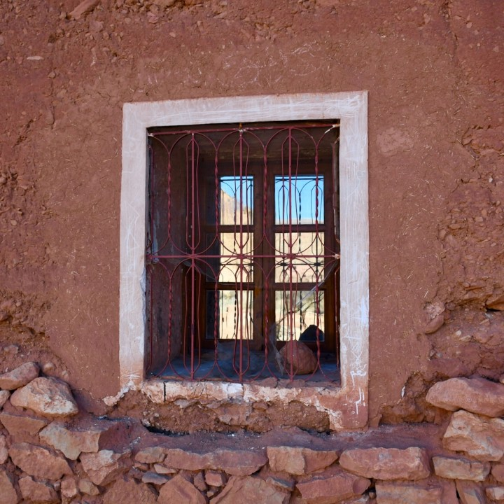 Morocco with kids window reflections