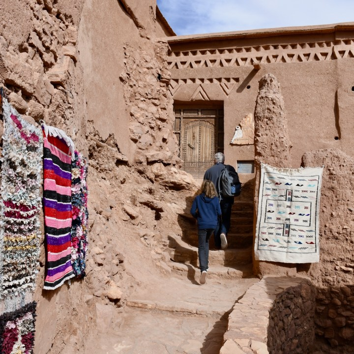 Ait Benhaddou with kids Morocco stairways