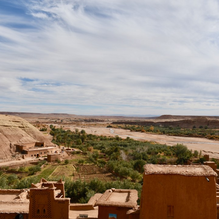 Ait Benhaddou with kids Morocco valley view