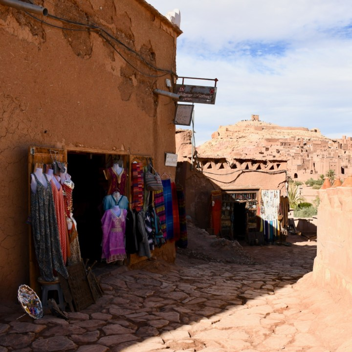 Ait Benhaddou with kids Morocco ksar view