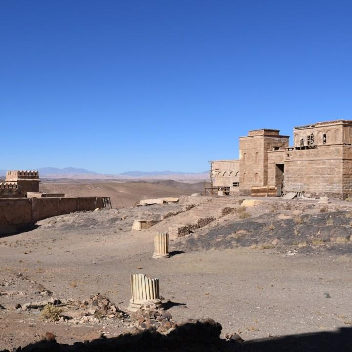 Ouarzazate Morocco with kids abandoned filmset courtyard
