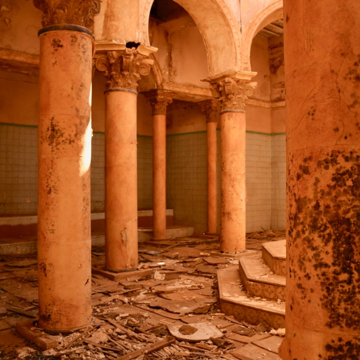 Ouarzazate Morocco with kids abandoned filmset columns