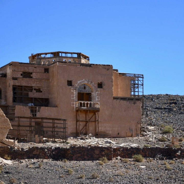 Ouarzazate Morocco with kids abandoned filmset backside