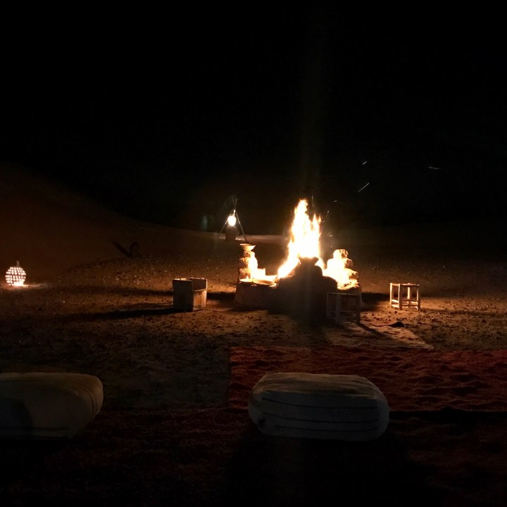 La Kahena luxury camp Erg Chigaga Sahara bonfire