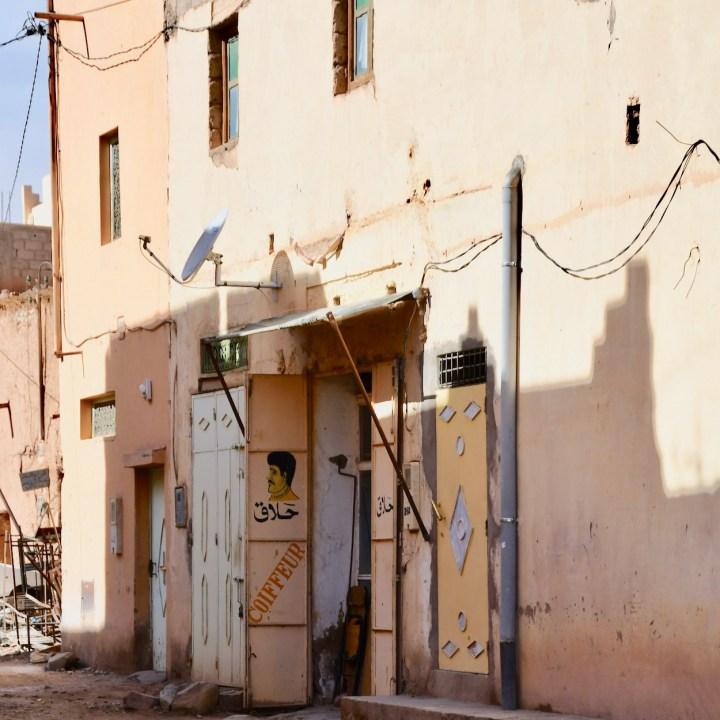 Agdz with kids Morocco barber shop