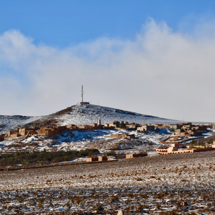 snow in the desert Morocco snowy berber village