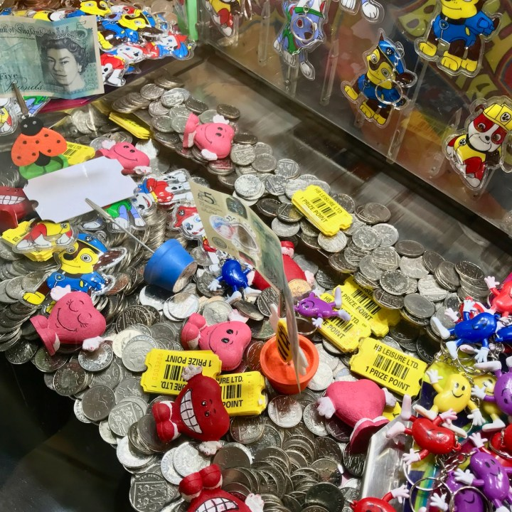 Margate dreamland with kids lucky coin machine