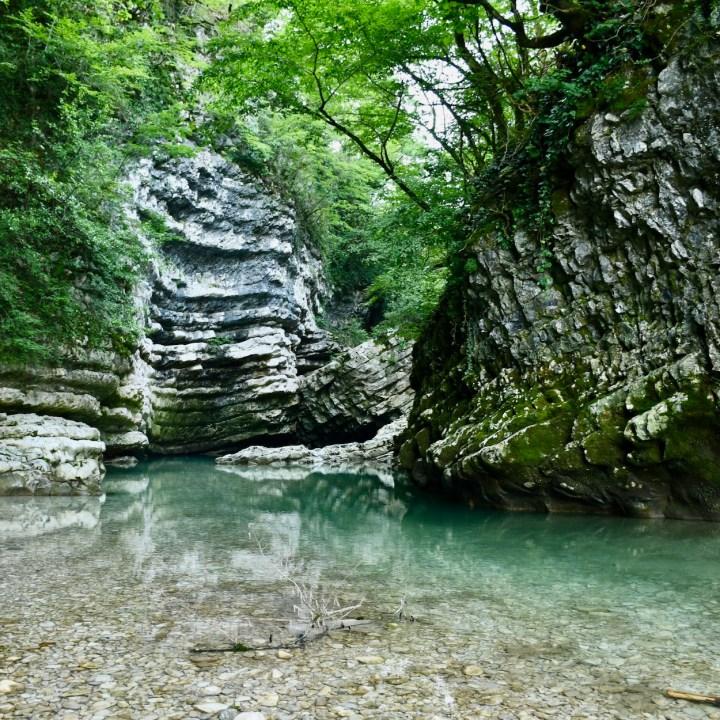 Exploring Georgia with kids Martvili Gorge wild swimming