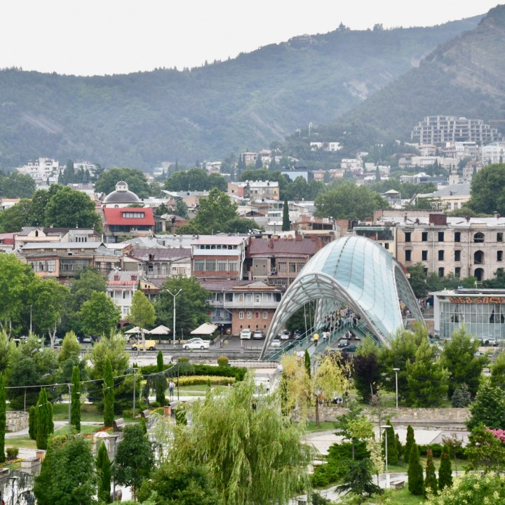 Tbilisi with children peace bridge view