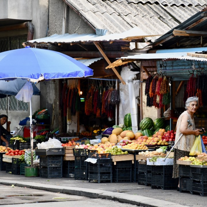 Tbilisi with children market stalls
