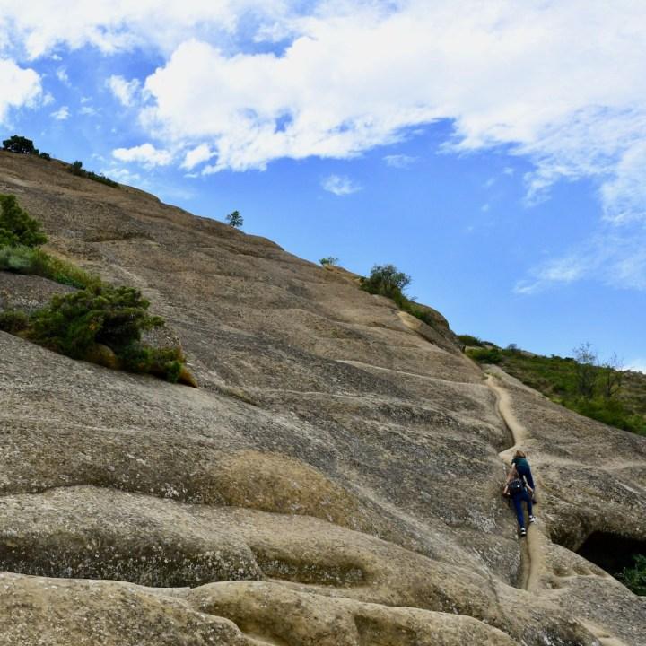 David Gareji Monastery with kids rock climbing