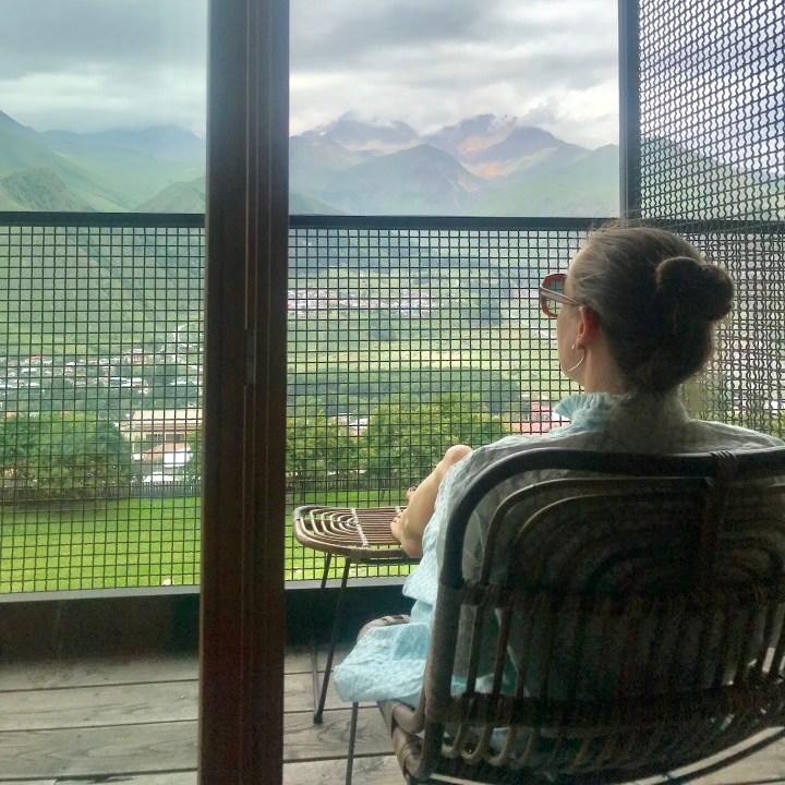 family travel Georgia Mt kazbek view