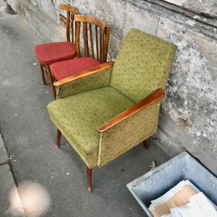 Tbilisi with kids Dry Bridge Market vintage chairs