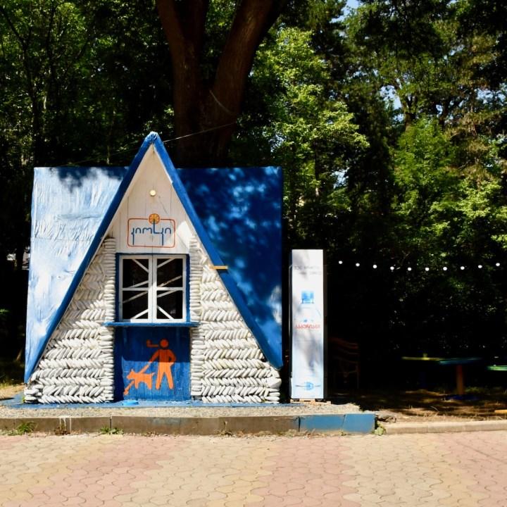 Borjomi Georgia with kids drink hut