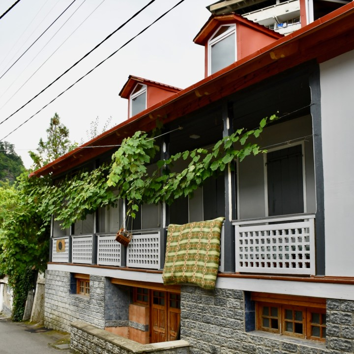 Borjomi Georgia with kids front porch