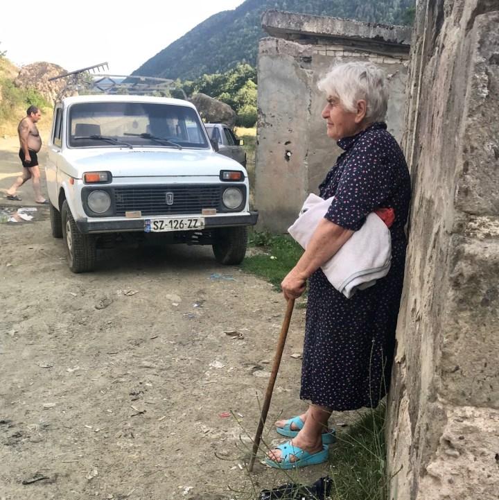 Atskuri castle Georgia with kids old lady