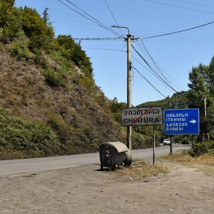 Chiatura Georgia with kids town border