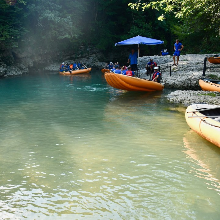 Martvili Canyon Georgia with kids paddle boats