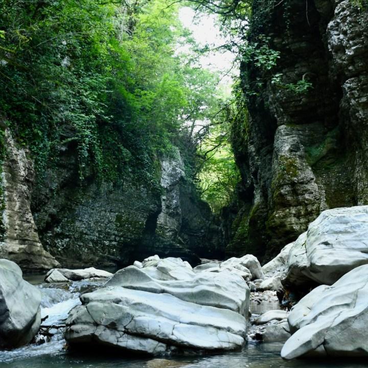 Martvili Canyon Georgia with kids cliff