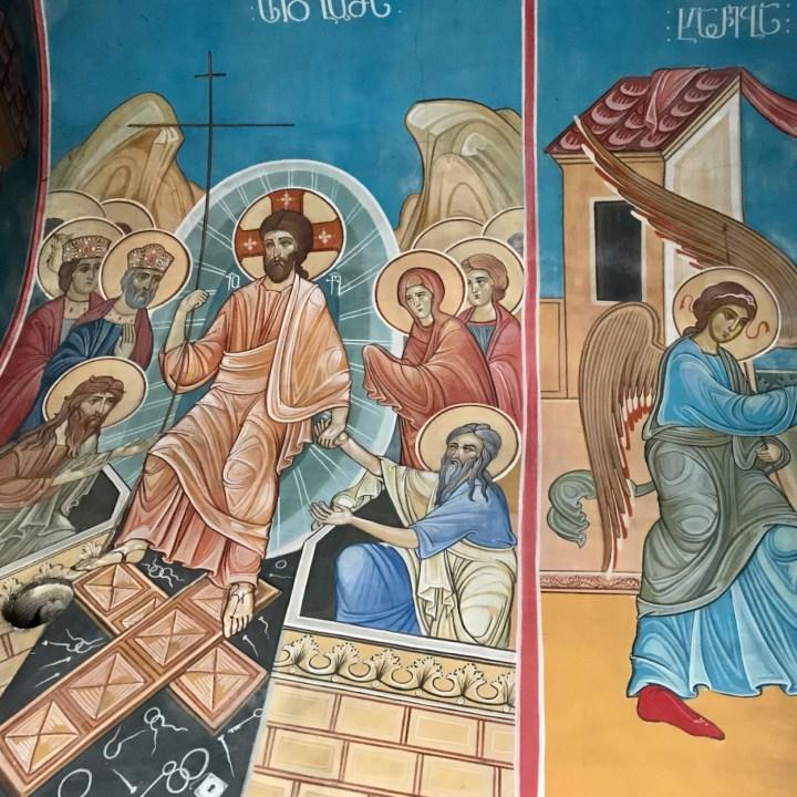 Katskhi Pillar Georgia with kids frescoes