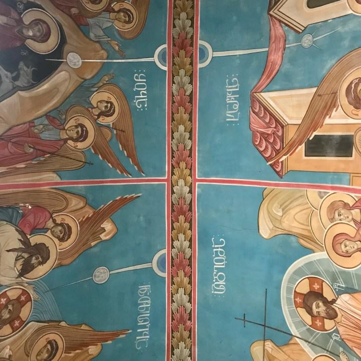 Katskhi Pillar Georgia with kids ceiling frescoes