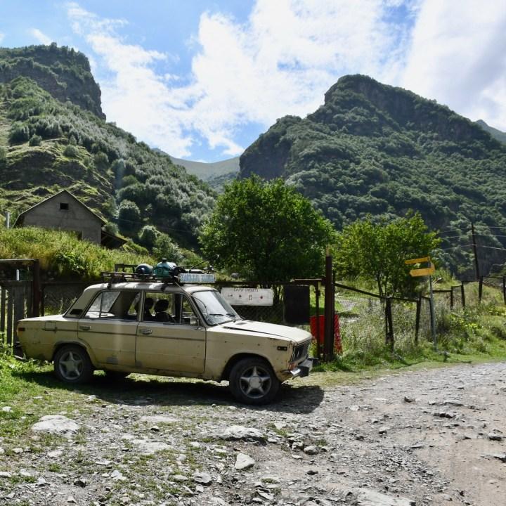 Gveleti waterfalls car