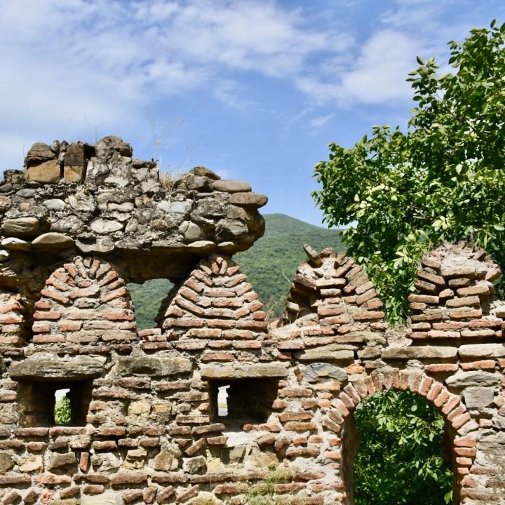 Ananuri church Georgia stone wall