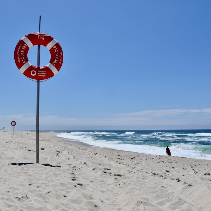 Costa Nova Portugal beach giant life ring