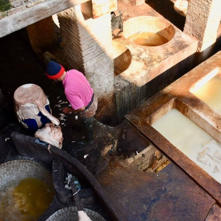 Fez Ain Azliten tannery dyeing skins