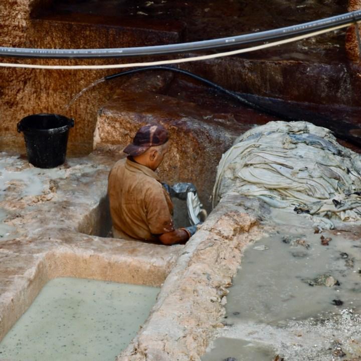 Fez Ain Azliten tannery worker