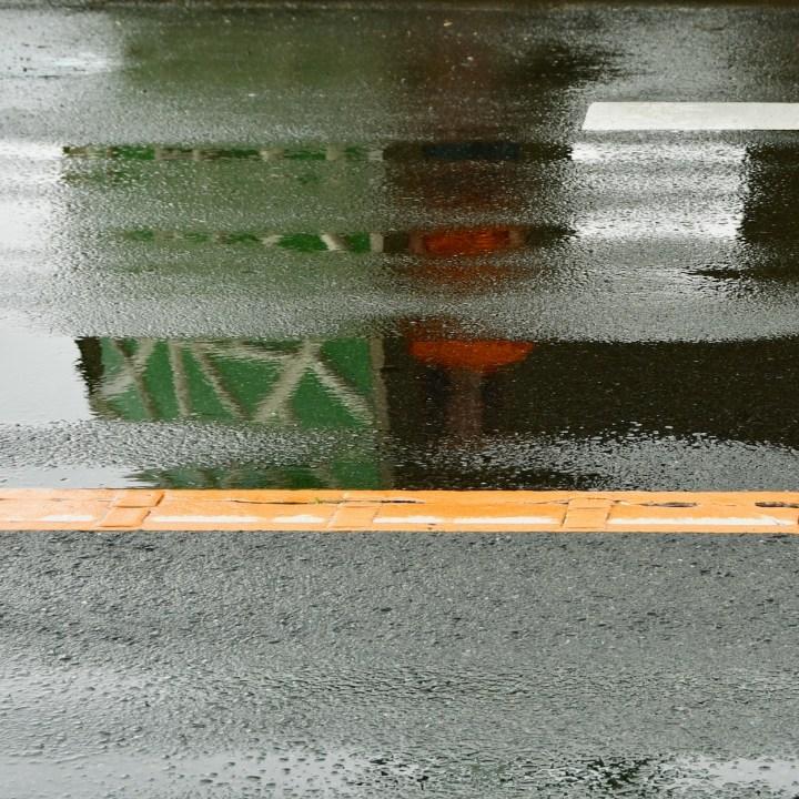 melon bus stop Kyushu reflection