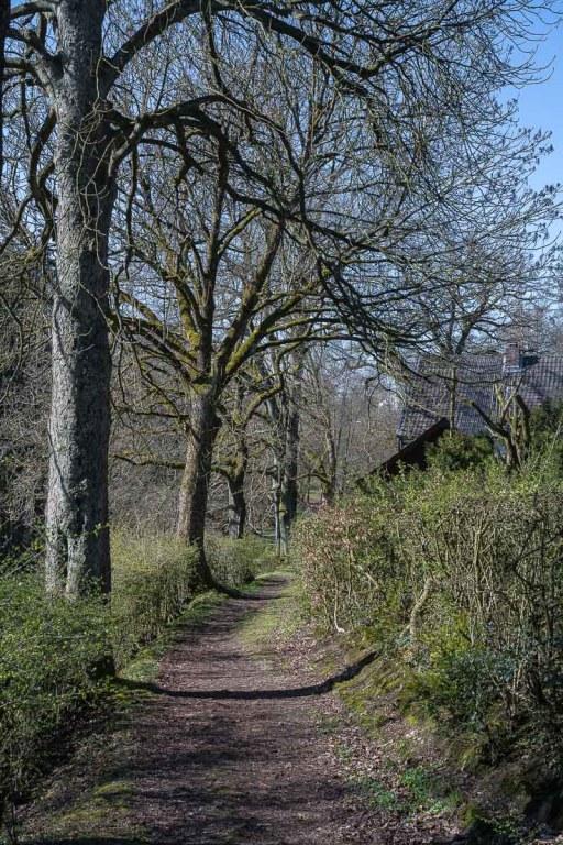 Weg hinter dem idyllisch gelegenem, lauten Haus.